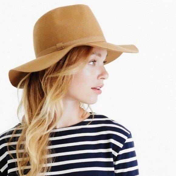 J .Crew Women's Camel/Tan Brim Italian Wool Hat